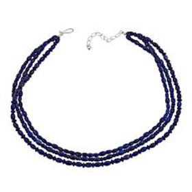 "Jay King 3-Strand Lapis Bead 18"" Sterling Silver N"