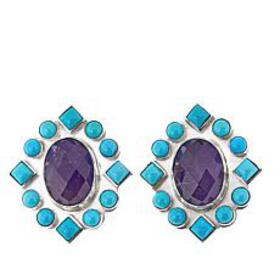 Jay King Angel Peak Turquoise and Amethyst Earring