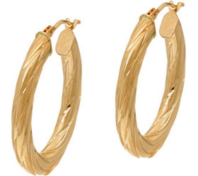 """As Is"" 14K Gold Oval Twist Hoop Earrings - J35086"