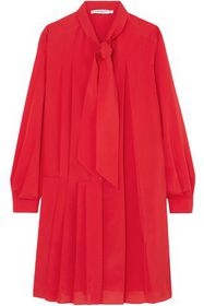 GIVENCHY Tie-neck pleated silk-blend crepe de chin