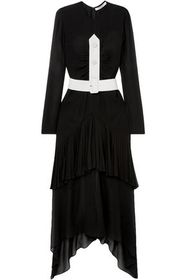 GIVENCHY Belted button-embellished pleated silk-ch