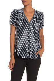 Max Studio V-Neck Short Sleeve Button Front Top