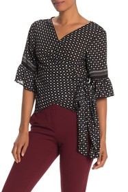 Max Studio Floral Wrap Bell Sleeve Blouse