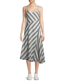 Theory Summer Athens Spaghetti-Strap Striped Dress