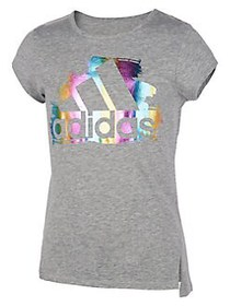 Adidas Girl's Front Vented Cotton Blend Tee GREY H