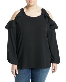 Kerrick Ruffle-Tiered Cold-Shoulder Blouse Plus Si