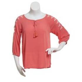 Absolutely Famous 3/4 Sleeve Keyhole Neck with Tas