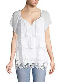 LE MARAIS Embroidered Lace-Trimmed Silk Top WHITE