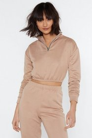 Nasty Gal Womens Sand Just for Funnel Cropped Zip