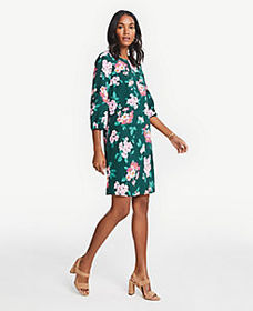 Petite Floral Lantern Sleeve Shift Dress