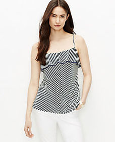 Petite Stripe Tiered Tipped Cami