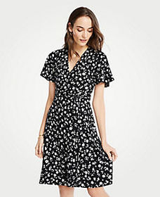 Petite Floral Flutter Sleeve Wrap Dress