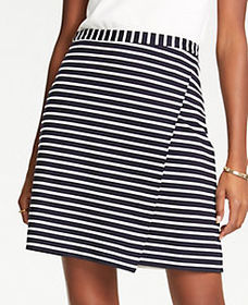 Petite Striped Ponte Wrap A-Line Skirt