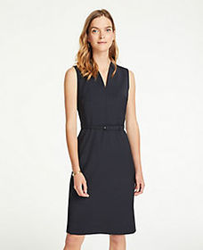 Petite Tropical Wool Belted Sheath Dress