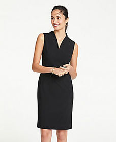 The V-Neck Belted Sheath Dress in Seasonless Stret
