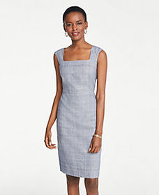 The Square Neck Dress in Glen Check
