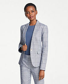 The One-Button Blazer in Glen Check