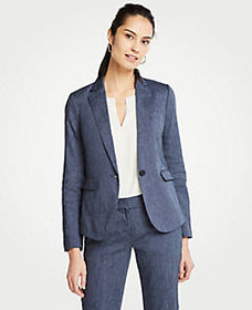 Linen Blend One Button Blazer