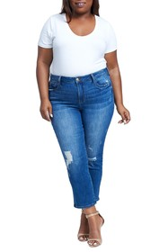 Seven7 High Rise Distressed Straight Leg Jeans (Pl