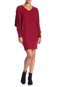 Go Couture Solid V-Neck Dolman Sweater Dress