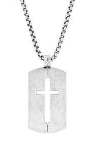 Steve Madden Cutout Cross Dog Tag Box Chain Neckla