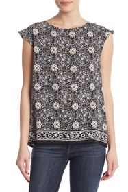 Max Studio Patterned Button Back Top