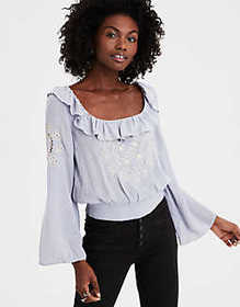 American Eagle AE Long Sleeve Embroidered Blouse