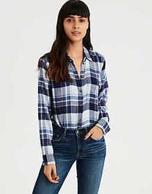 American Eagle AE Ahhmazinlgy Soft Plaid Boyfriend