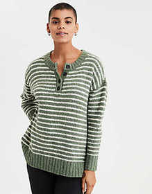 American Eagle AE Henley Pullover Sweater