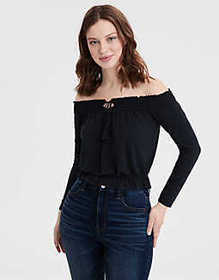 American Eagle AE Long Sleeve Off The Shoulder T-s