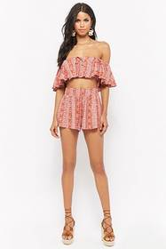 Forever21 Ornate Flounce Off-the-Shoulder Crop Top