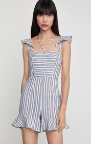 BCBG Striped Angel Wing Romper