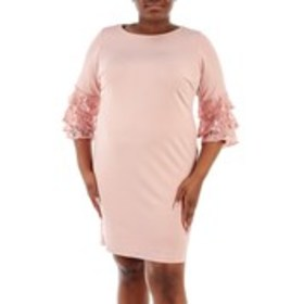 SHELBY NITES Plus Size Sequin Lace Bell Sleeve Shi
