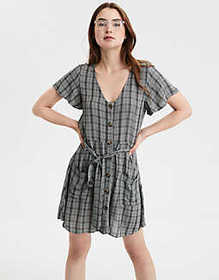 American Eagle AE Plaid Fit & Flare Button Up Dres
