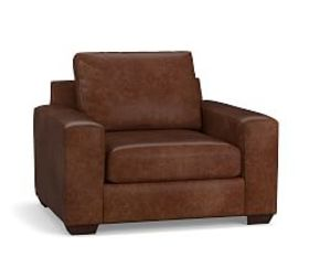 Pottery Barn Big Sur Square Arm Leather Armchair