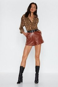 Nasty Gal Womens Tan Faux Leather or Not High-Wais