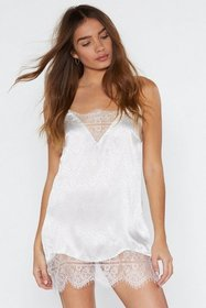 Nasty Gal Womens Cream Lace Time Lover Satin Night