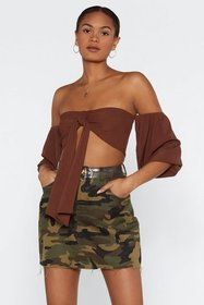 Nasty Gal Womens Mocha Tie Me First Off-the-Should