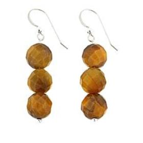 Jay King Golden Tiger's Eye Bead Drop Sterling Sil