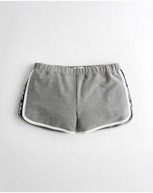 Hollister High-Rise Terry Curved Hem Shorts, GREY