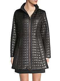 Kate Spade New York Quilted Bow A-line Jacket BLAC