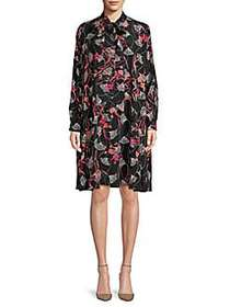 Valentino Printed Tie-Front Silk Shift Dress NERO