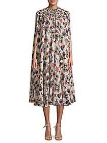 Valentino Printed Silk Tent Dress BUTTER MULTI