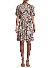 Valentino Abstract-Print Silk Mini Dress BLACK PIN