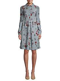 Valentino Floral Tie-Waist Silk Button-Front Dress