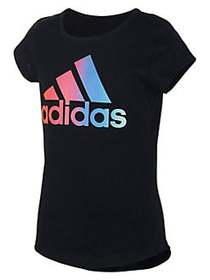 Adidas Girl's Rainbow Gradient Cotton Blend Tee BL