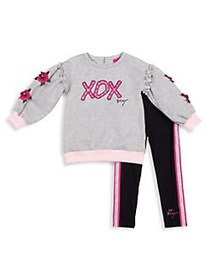 Betsey Johnson Little Girl's 2-Piece Rose Embroide