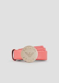 Armani Belt with round buckle and engraved logo