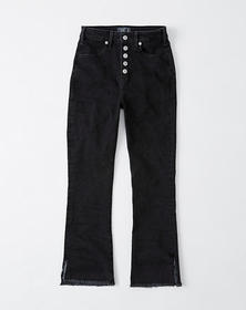 Button Front High Rise Ankle Flare Jeans, BLACK