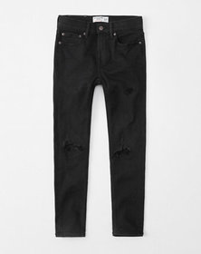 ripped super skinny jeans, destroyed black